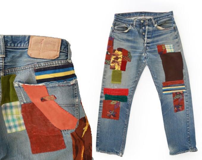 Best Patch redline Levis | Big E selvedge red line Levis | Vintage 60s button fly Levis Patch 501 XX US