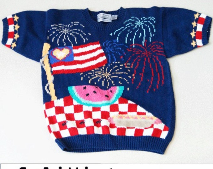 vtg American Flag AMERICANA 4th of July American FLAG heart drape Sweater TOP sweatshirt S