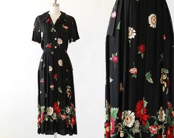 Daisy Midi dress | Vintage 90s 40s floral rayon midi dress