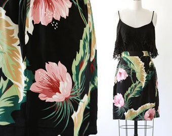 Floral mini skirt | Vintage 80s tropical floral leaf skirt