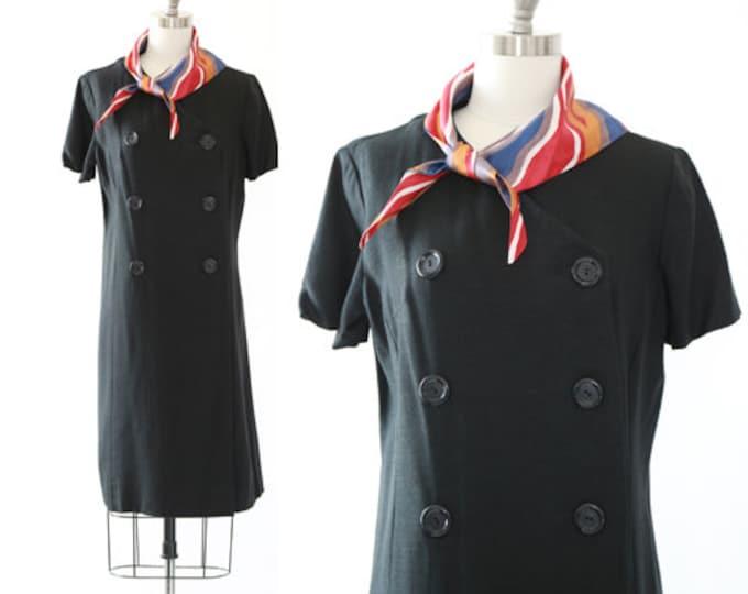 Vintage 60s black linen MOD dress