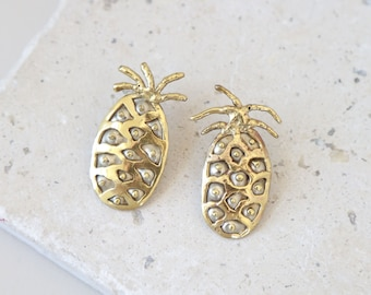 Brutalist pineapple earrings | Vintage Modernist earrings | Vintage gold pineapple earrings