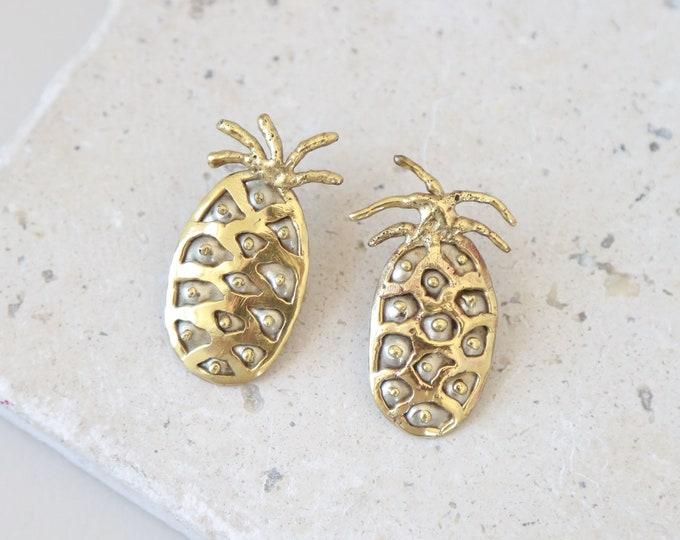 Brutalist pineapple earrings | Vintage Modernist earrings | Vintage gold pineapple earrings