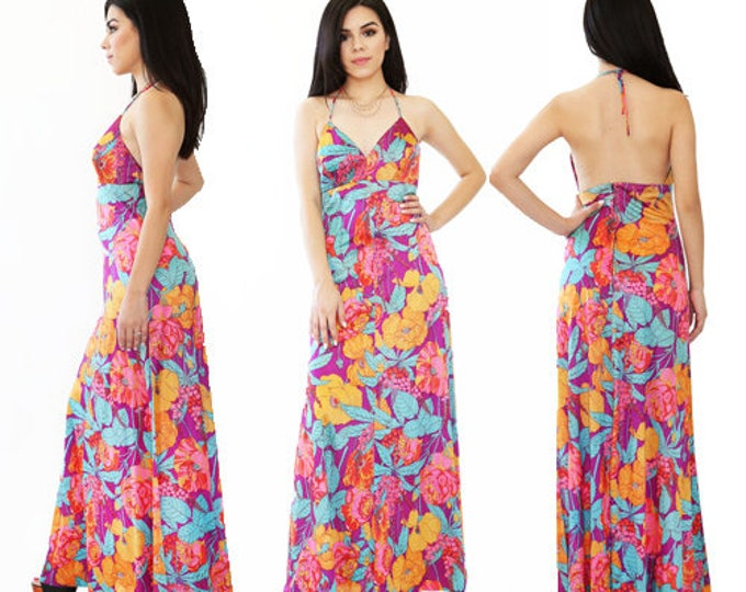 Hawaiian Maxi dress | Vintage 70s tropical FLORAL Hawaiian Halter Festival cocktail party Maxi Dress S