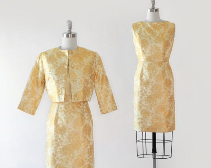 Oh la la rose dress | Vintage 60s metallic gold lurex floral Brocade 2pc wiggle dress | 1960s suit