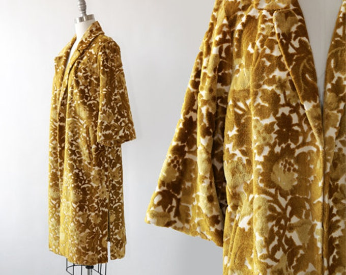 Rosenblum tapestry coat | Vintage 60s chartreuse floral Chenille coat | 1960s tapestry coat