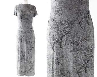 Night tree dress   Vintage 90s metallic silver spooky tree maxi dress