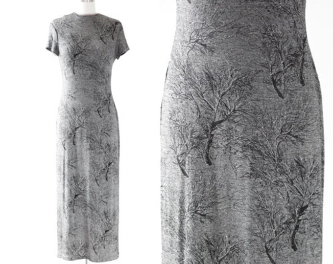witchy tree dress | Vintage 90s metallic silver spooky tree maxi dress | Fall tree dress