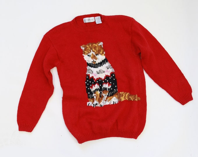 Cat sweater | Vintage 90s knit Cat Sweater