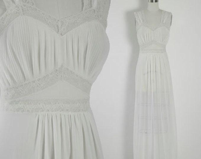 Bias cut slip dress | Vintage 40s trillium floral lace slip dress | White Wedding slip dress nightie lingerie