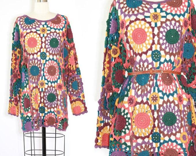Crochet sweater dress | Vintage 90s oversized crochet knit sweater dress top