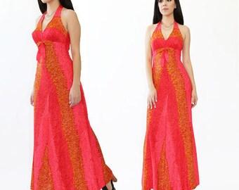 De Weese Hawaiian dress | Vintage 70s Hawaiian Maxi dress | Resort wear Beach dress