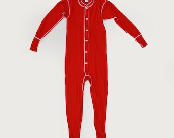 Rib knit long johns | Vintage 70s red long johns | Christmas Pajamas | deadstock long johns