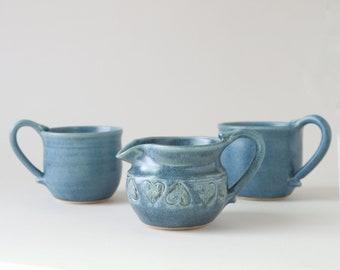 Stoneware Heart cups | vintage blue stoneware coffee set | Stoneware coffee cups