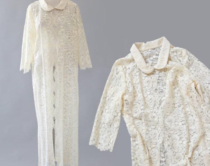 Floral lace duster | Vintage 60s lace coat