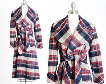 Plaid trench coat | Vintage 70s plaid wool coat