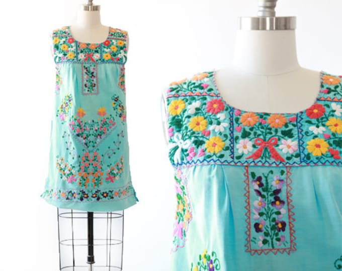 Mexican embroidered dress | Vintage 70s blue Mexican Dress Floral Embroidered boho mini dress