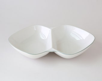 Vintage Winfield white porcelain large double dish | severing bowl dish