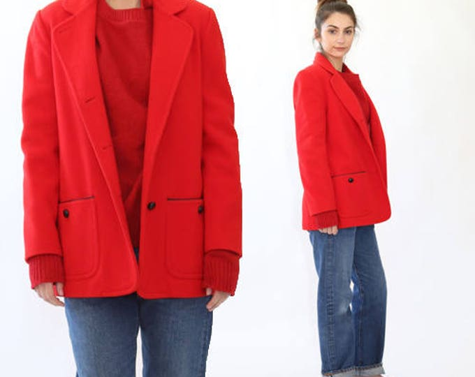 Vintage 60s red wool coat draped MOD minimalist dress coat jacket M