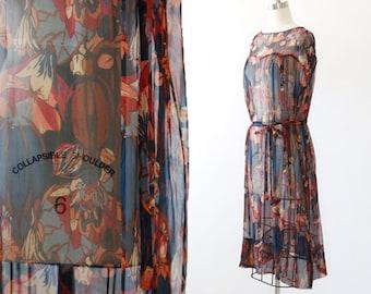 Harvest silk dress |  Vintage 20s silk dress | 1920s Sheer Floral pumpkin dress