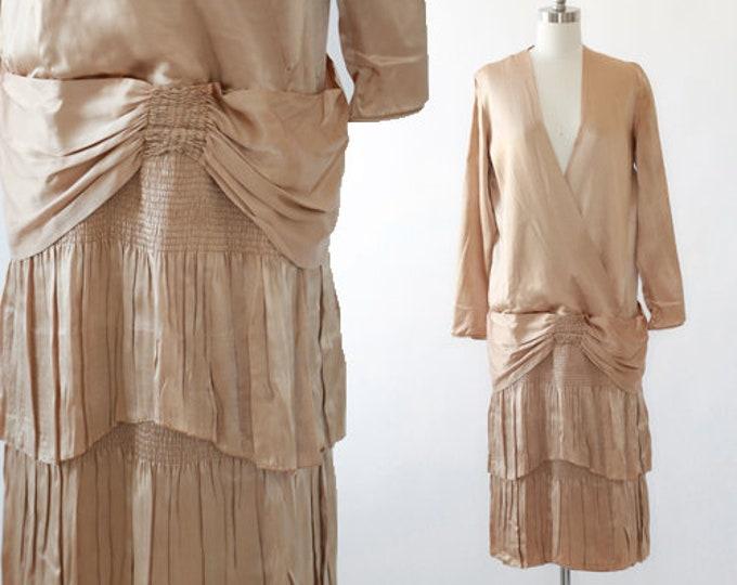 I. Magnin drop waist dress | Antique Vintage 20s Gold satin silk dress | 1920s drop waist ruffle dress