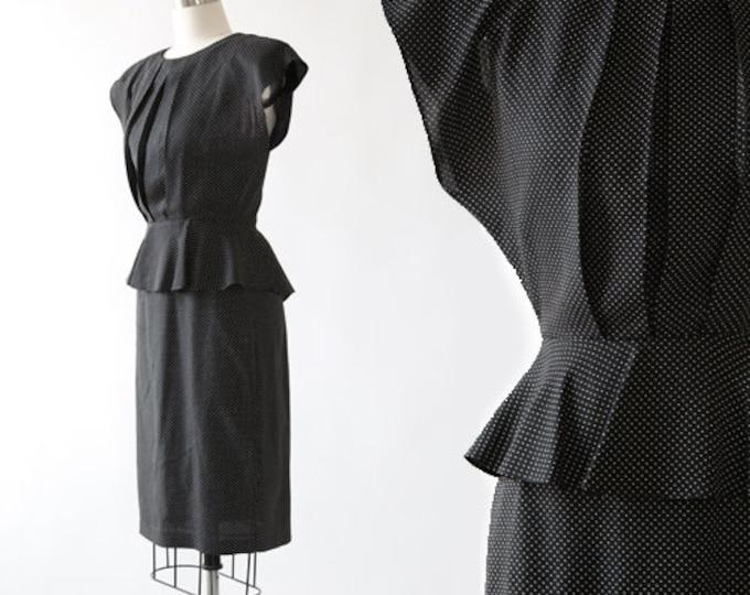 Polka dot midi dress | Vintage 80s 40s black + white polka dot peplum skirt dress