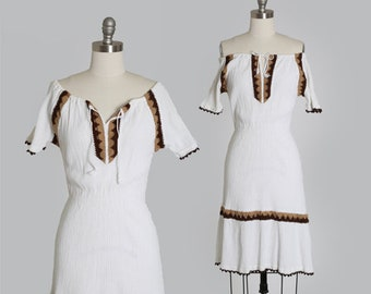 Grecian gauze dress  | Vintage 70s white cotton Gauze Dress | 1970s Grecian off the shoulder crochet dress