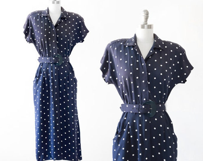 Vintage 80s 40s blue + white polka dot dress