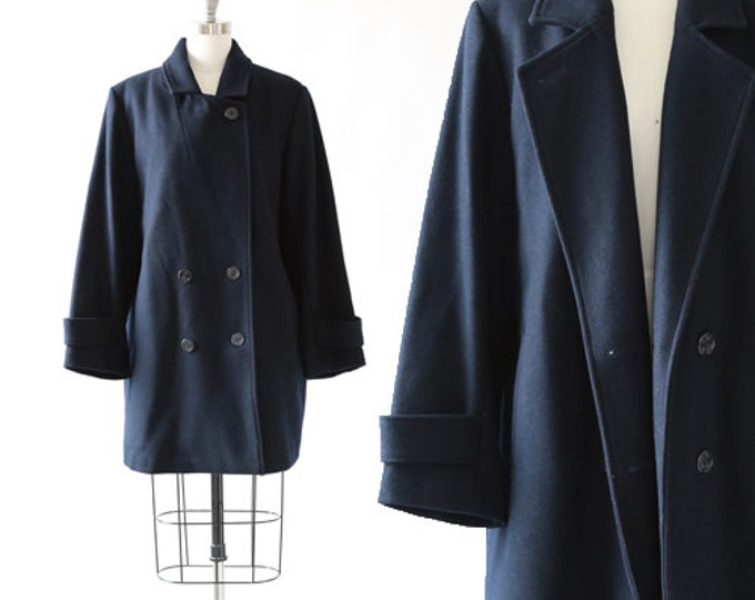 Pea Coat | Vintage 1990s Navy wool oversized Pea Coat Jacket