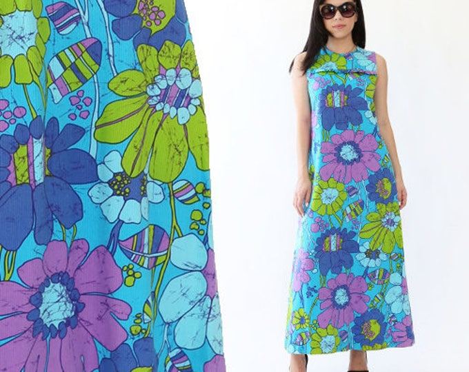 Vtg 60s Andrade Hawaiian Dress tropical MOD floral cotton Cocktail Party Maxi S