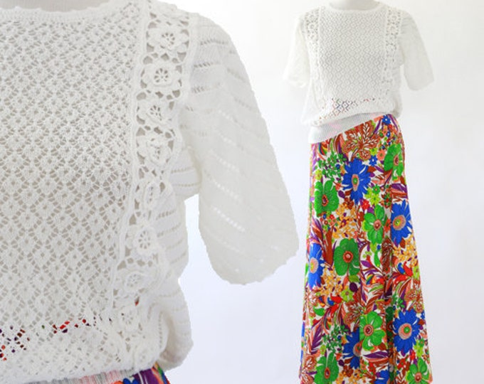 Crochet sweater | Vintage 70s floral top S