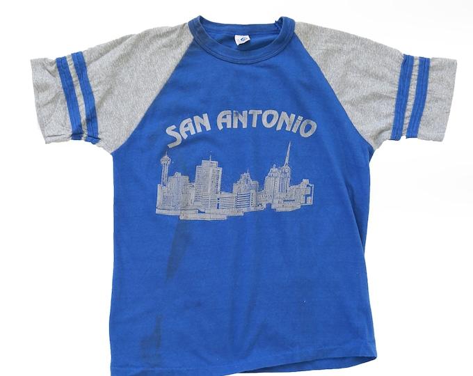 San Antonio t shirt | Vintage 70s SAN ANTONIO paper thin baseball ringer t shirt
