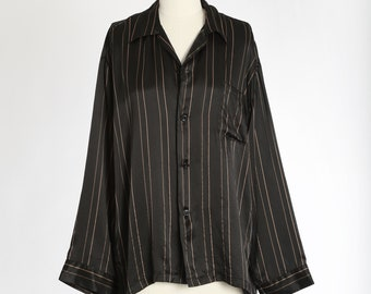 Gene Hiller Sausalito silk shirt | Vintage 90s black striped silk top