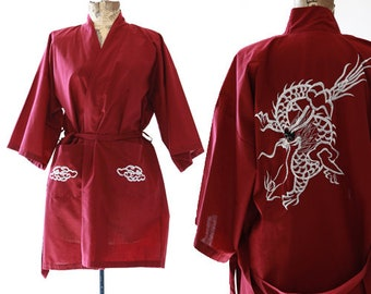 70s Dragon robe | Vintage 70s embroidered robe kimono