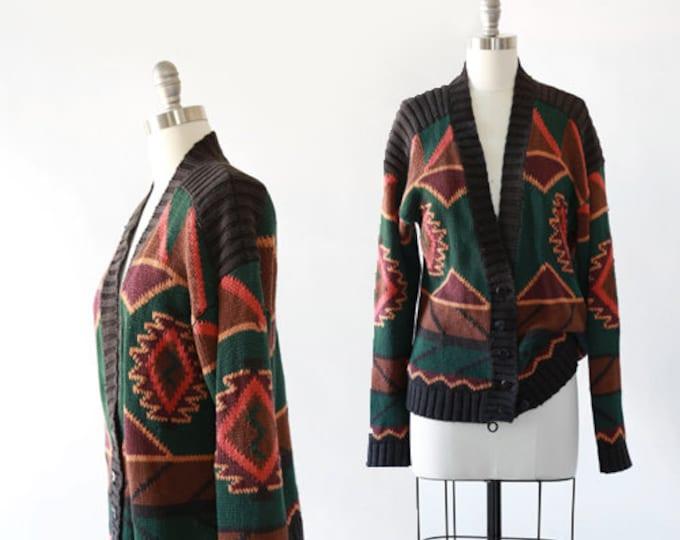 Vintage 90s southwestern knit cardigan | southwestern cotton ramie sweater