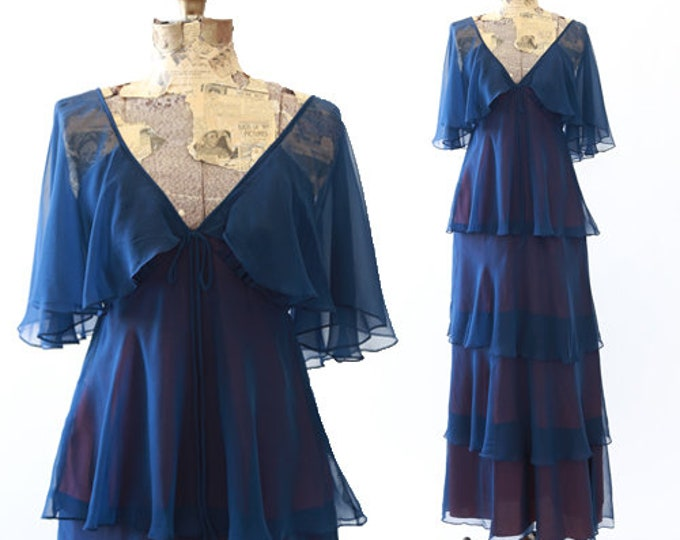 Vintage Navy silk chiffon tiered ruffle maxi Dress S