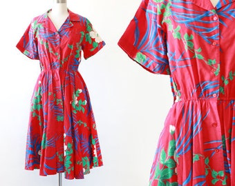 Two Dees Hawaiian dress | Vintage 80s Tropical Palm dress | Vintage 80s 50s floral dress