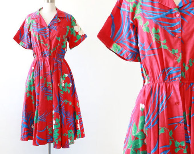 Two Dees Hawaiian dress | Vintage 80s Tropical Palm dress | Vintage 80s 50s floral dress