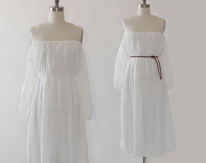 70s Gauze Grecian Dress   Vintage 1970s Cotton Gauze Dress   wedding gauze Dress   beach wedding dress