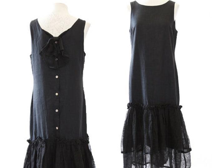 Cullinane linen dress | Vintage 90's black linen drop wait maxi Dress