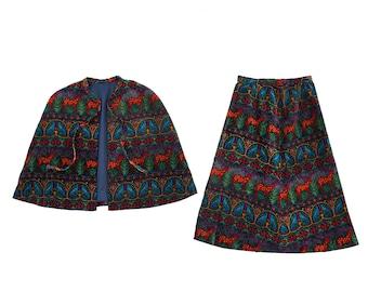 Woodland creature suit | Vintage 60s MOD 2pc velvet cape set