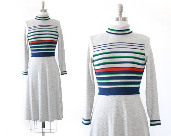 Bleaker street knit dress | Vintage 70s striped knit sweater dress | turtleneck sweater dress