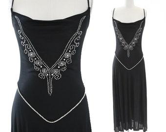 Muney flapper dress |  Vintage 70s black rhinestone jeweled dress | Drop waist Art deco dress