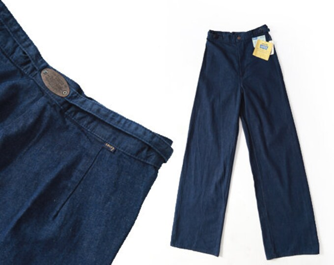 70s Levis  | Vintage 70s LEVIS wide leg jeans | deadstock Levis indigo denim bell bottom high waist jeans W29 L35 1/2