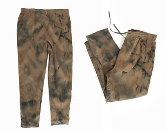 90s ice dyed silk joggers   Vintage dyed dye silk pants
