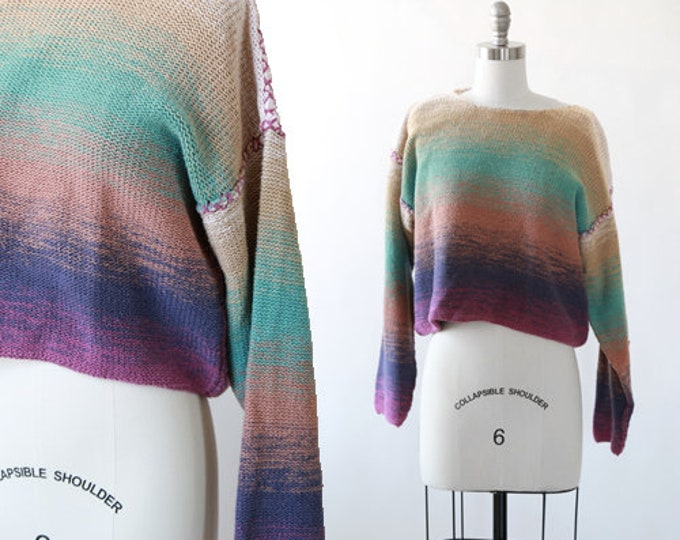 Desert ombre sweater | Vintage 90s cropped cotton ramie knit sweater | 1990s rainbow sweater