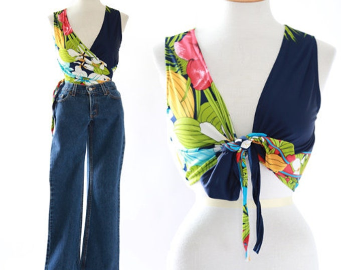 Tropical wrap crop top | vintage 70s Hawaiian tank top