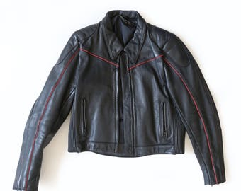 Motorcycle jacket | Vintage 80s Black Leather Motorcycle Jacket | Black leather jacket