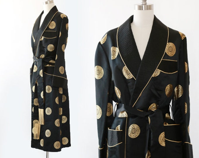 Antique silk smoking jacket | Vintage 40s Silk Japanese Souvenir Chinese Smoking Jacket robe | Silk Robe