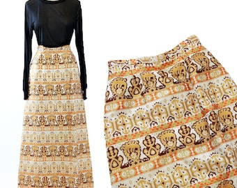 EDDY GEORGE EG tapestry skirt | Vintage 60s lurex metallic gold maxi skirt